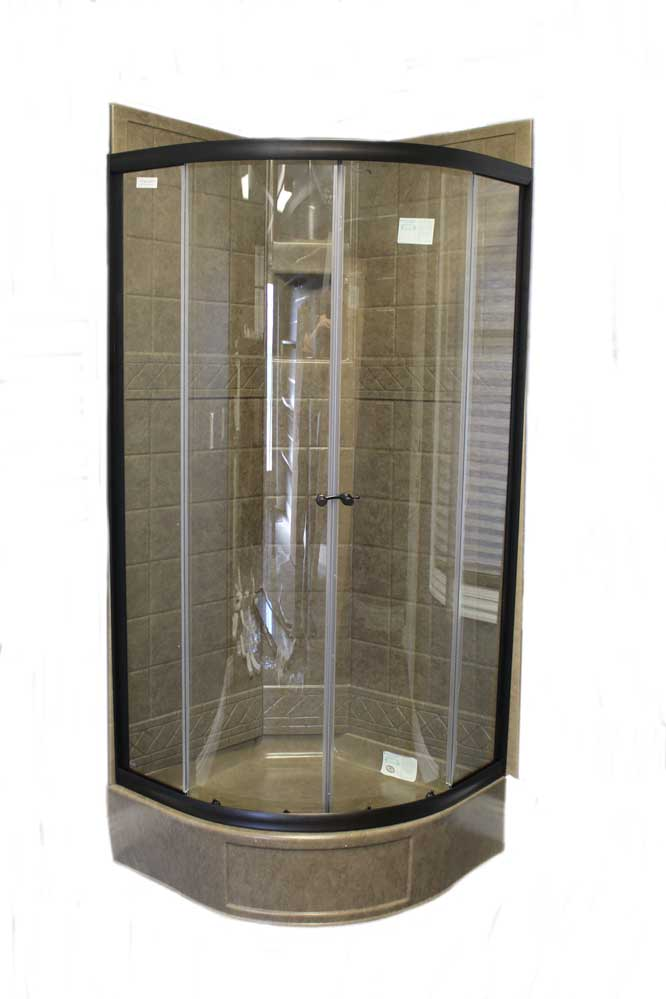 34 Round Shower Door With Clear Glass Oil Rubbed Bronze