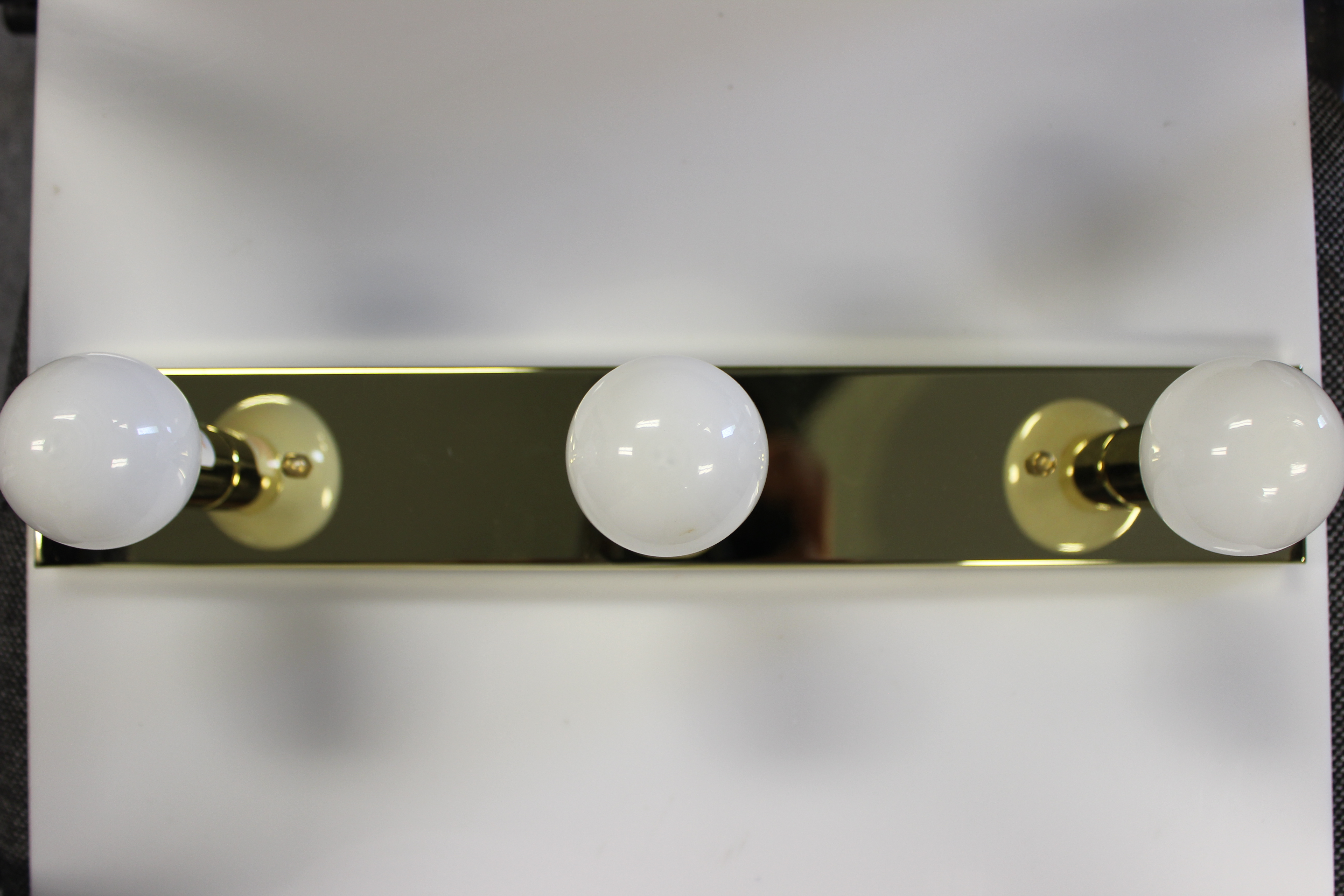 3 bulb vanity light brass with white bulbs jazz sales. Black Bedroom Furniture Sets. Home Design Ideas