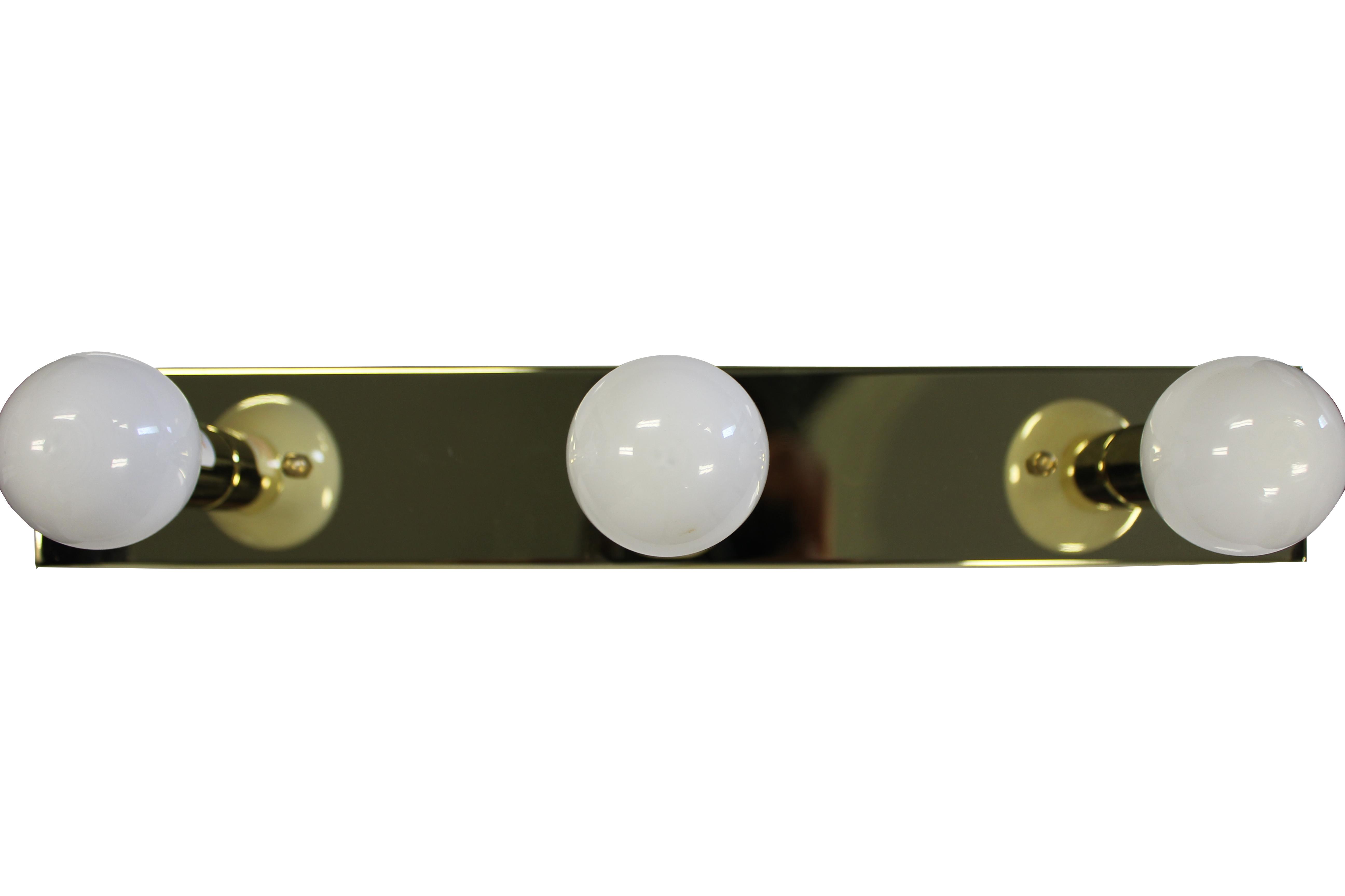 3 Bulb Vanity Light Brass With White Bulbs Jazz Sales