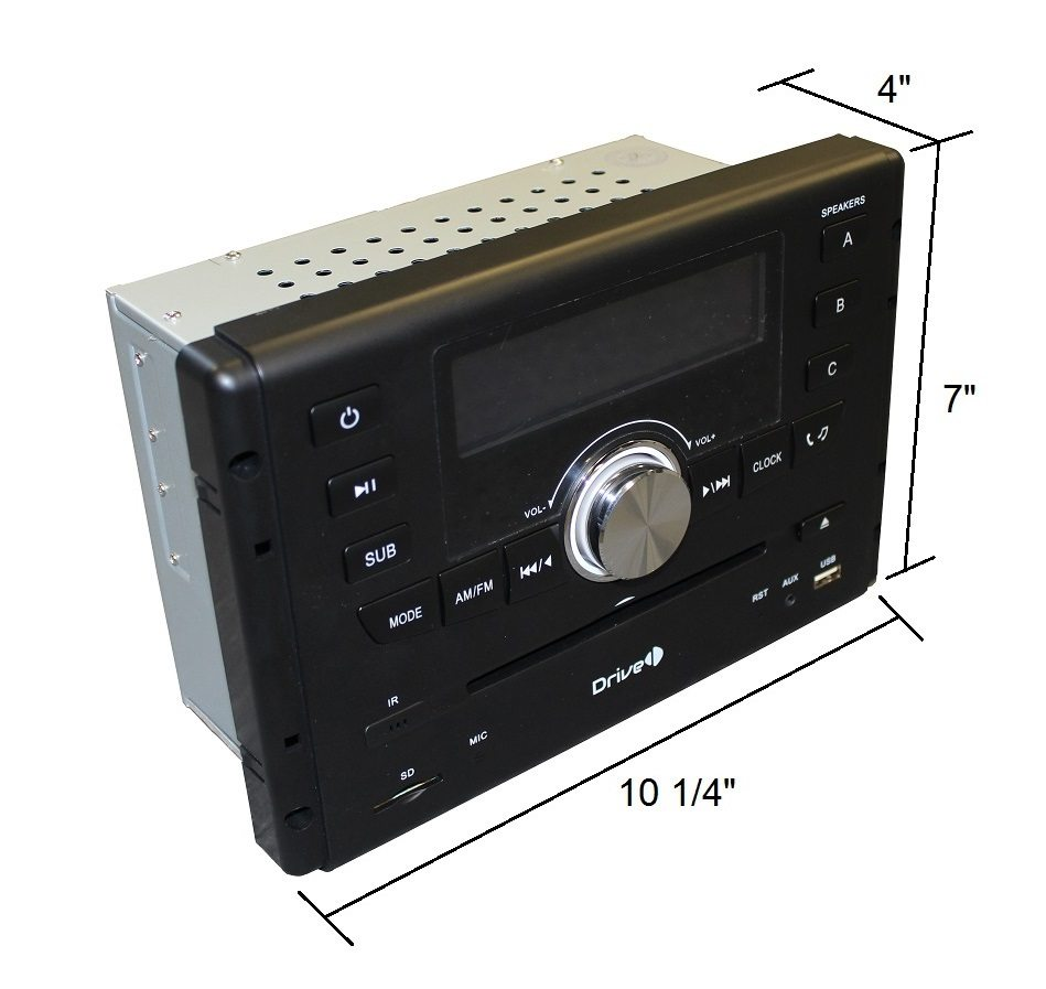 Drive AM FM CD DVD Bluetooth With IR Remote Wall Mount